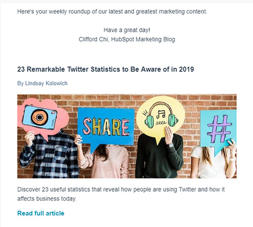 Screenshot of an email showing a big, colorful image above the content | How to Send a Newsletter Clients Actually Want to Read