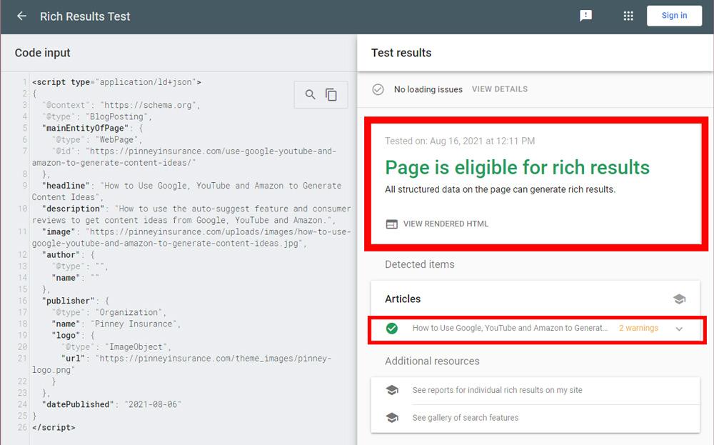 Screenshot of Google's Rich Results Testing Tool