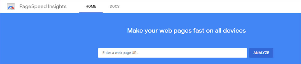 Screenshot of Google PageSpeed Insights homepage.