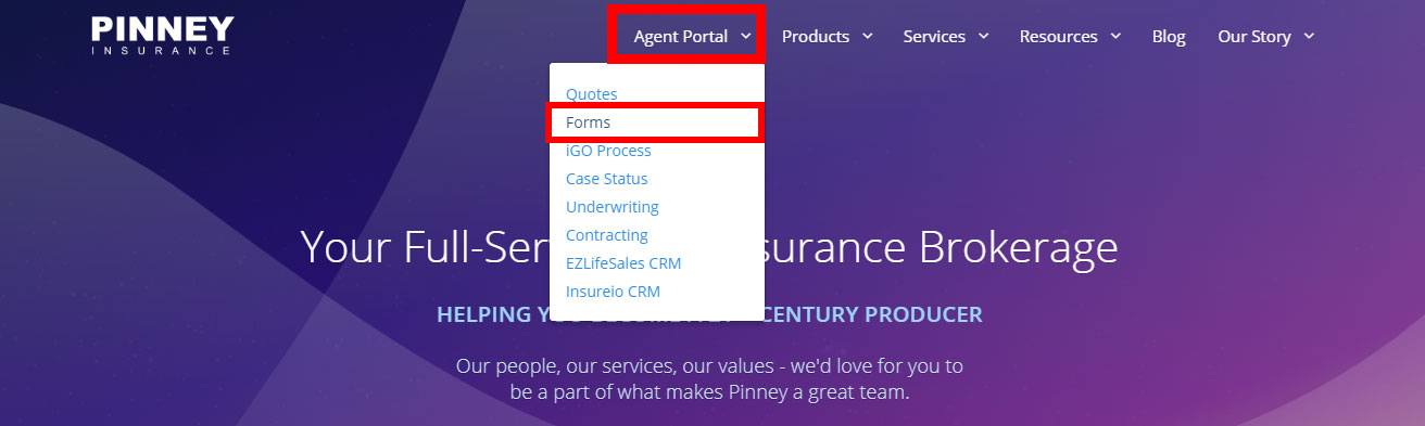 Screenshot of the Agent Portal / Forms link at the top of the Pinney Insurance website
