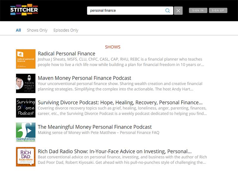 Screenshot of Stitcher's search function, used to search for the keyword 'insurance.'