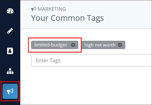 Screenshot: Marketing tags in Insureio