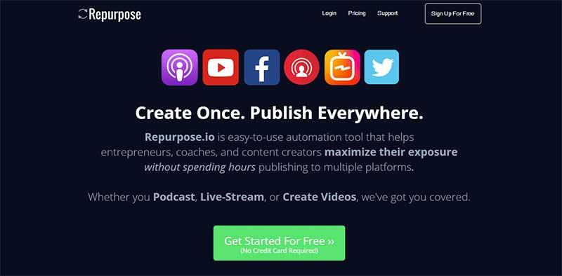 Screenshot of the Repurpose.io home page