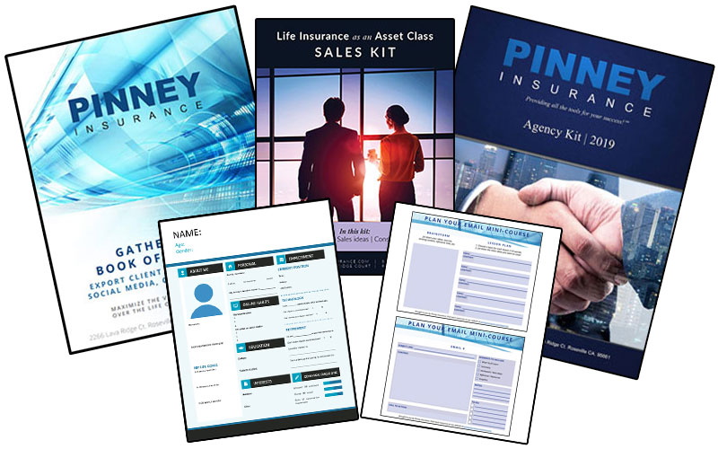 A screenshot of the resources available on the Pinney Insurance resources page, from sales kits to templates and more
