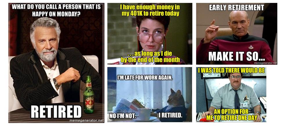 Screenshot of several retirement memes