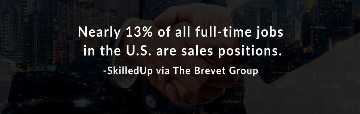 Nearly 13% of all full-time jobs in the U.S. are sales positions. -SkilledUp via The Brevet Group