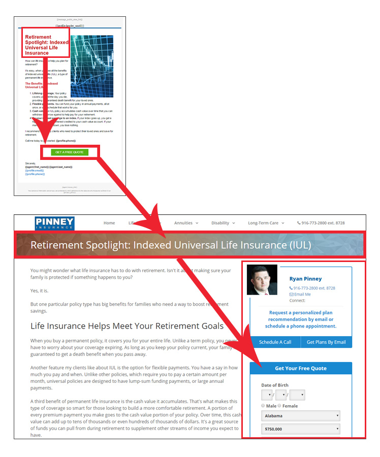 An email in Insureio's March retirement planning marketing campaign with the corresponding page in InsuranceDivision