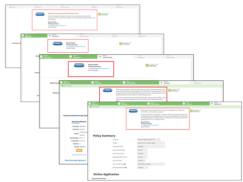 The consumer quote path provided by the Insureio marketing link