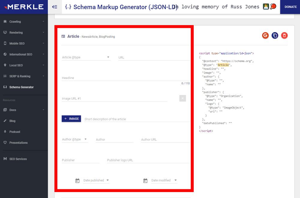 Screenshot of Merkle's free schema generator tool