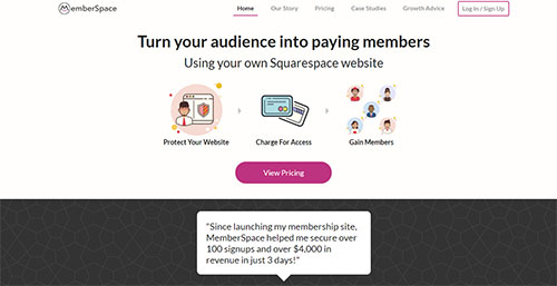 Screenshot of the Memberspace plugin website, for use with Squarespace websites