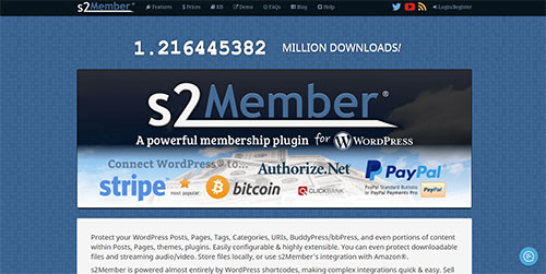 Screenshot of the S2Member plugin website