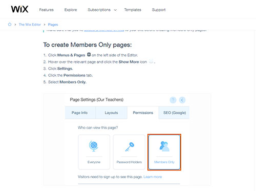 Screenshot of the Wix information on how to mark a page for Members Only