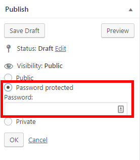 Screenshot of the WordPress post settings options, with password protect outlined in red