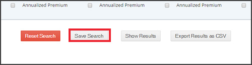 Save Search button in the reporting section