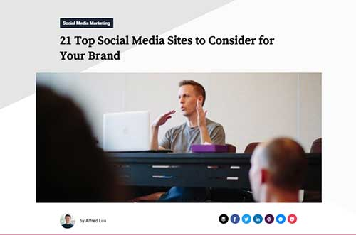 Screenshot of the Buffer blog post '21 Top Social Media Sites to Consider for Your Brand'