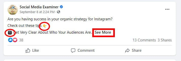 Screenshot of a Facebook post from Social Media Examiner with spaced-out lines, emojis, and only 1 of several provided tips visible, encouraging the viewer to click to see more