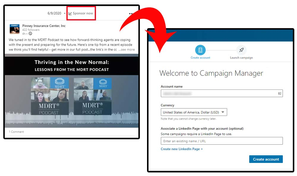 Screenshots of the Sponsor Post link above a recent post, with the welcome screen for the Campaign Manager.