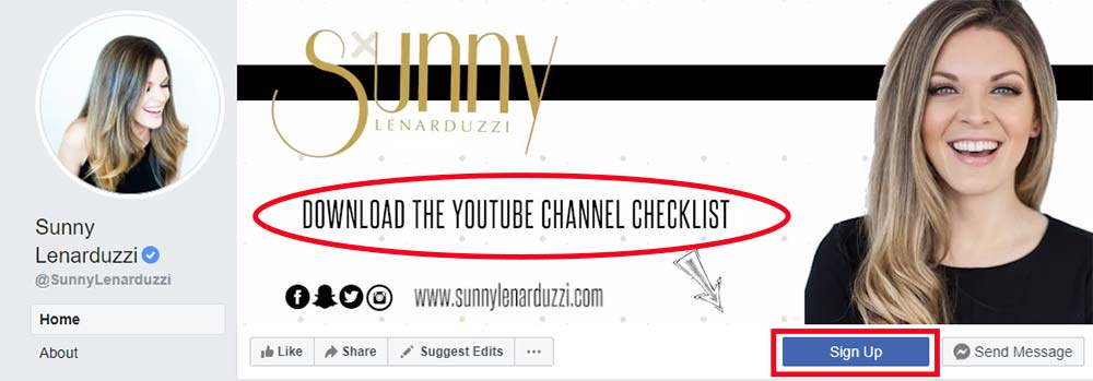 Screenshot of Sunny Lenarduzzi's Facebook page, showing her call to action in the cover photo and the sign-up button.