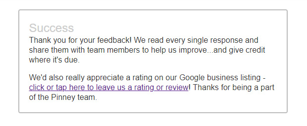 Screenshot of our agent review survey with a link to our Google reviews.