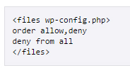 Blocking web access to wp-config via .htaccess