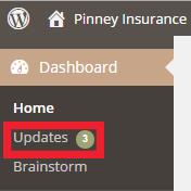 WordPress menu update notification