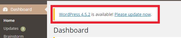 WordPress update available notification
