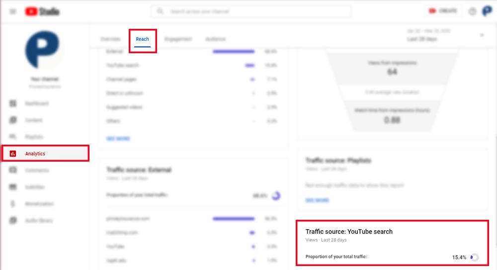Screenshot of YouTube Studio, showing the traffic source widget