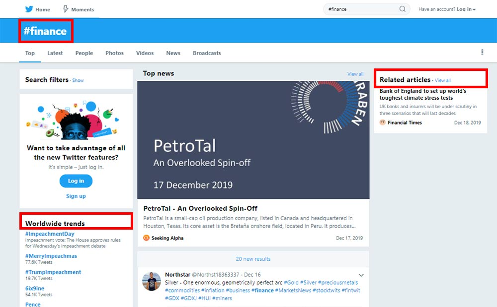 Twitter's hashtag search results with related articles