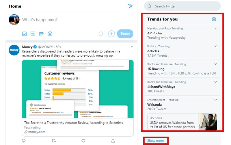 Twitter's trending topics list