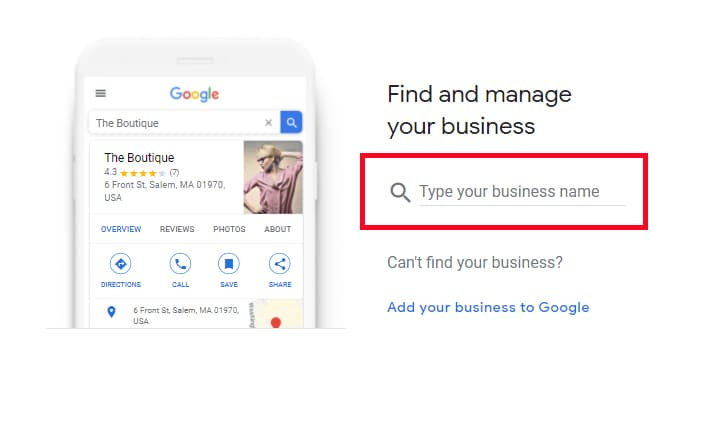 Screenshot of Google My Business showing the 'Create a business with this name' option.