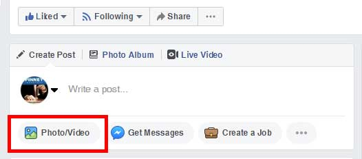Screenshot of the Pinney Insurance Facebook page, showing where you click the Photo/Video button to upload video.