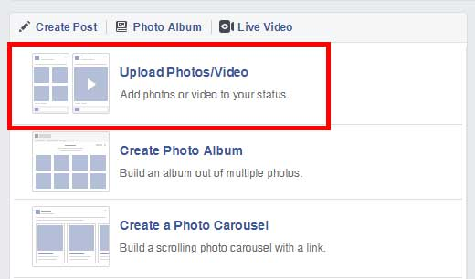 Screenshot of the Pinney Insurance Facebook page, showing where you click the Upload Photos/Video button to upload video.