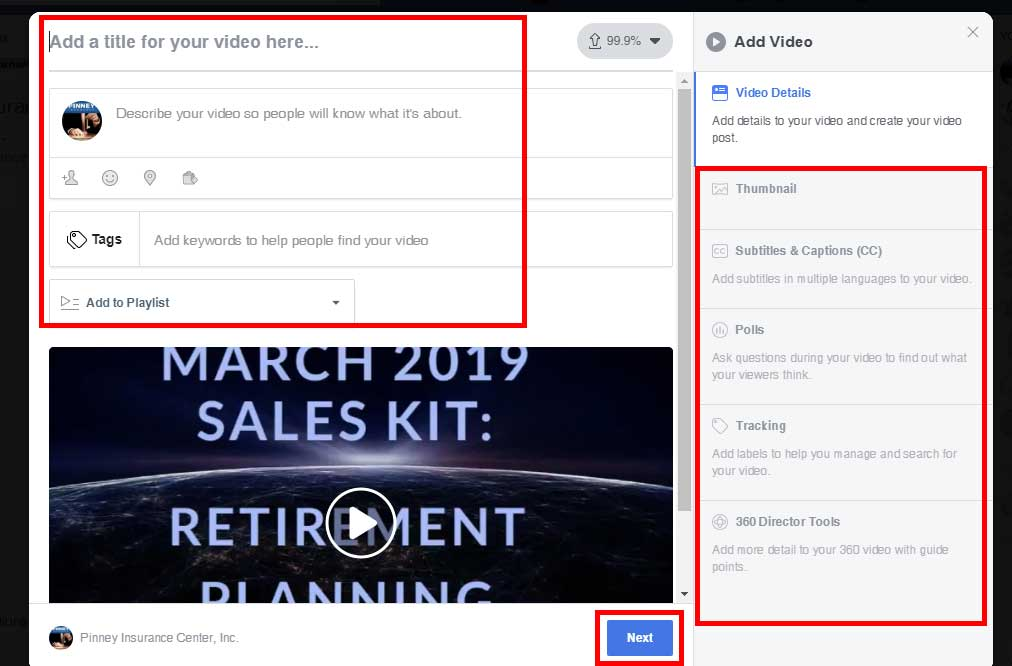 Screenshot of the Pinney Insurance Facebook page, showing the video upload screen, where you can enter details like a title, thumbnail, subtitles, and more.