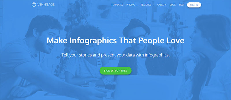 Screenshot of Venngage's home page, inviting users to create an infographic