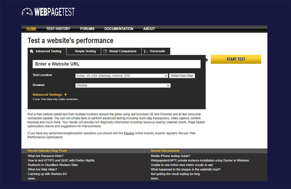 Screenshot of the WebPageTest.org website's homepage.