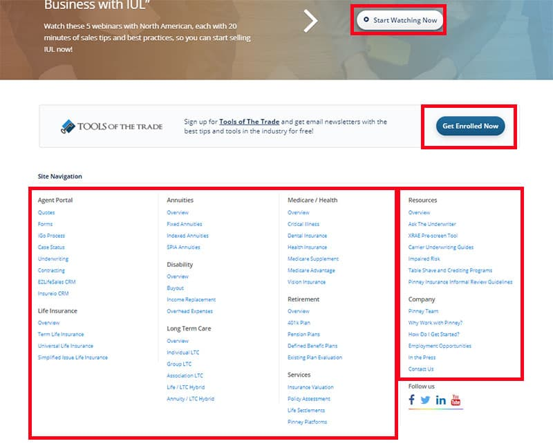 Screenshot of the Pinney Insurance website footer, with menu links, a newsletter sign-up link, and more
