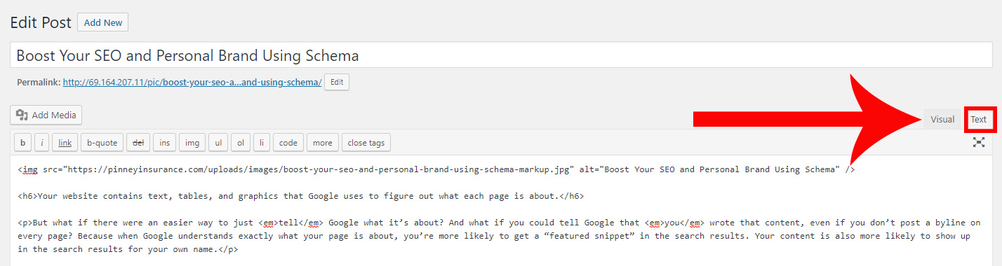 Screenshot of WordPress's tabs to toggle between the Visual and Text editor
