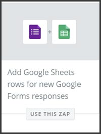 This is a screenshot of Zapier's zap to add Google Form responses to a Google Sheet