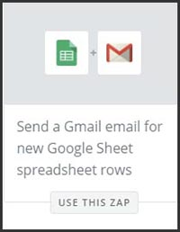 This is a screenshot of Zapier's zap to send a Gmail email based on new rows in a Google Sheet