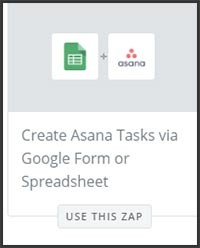 This is a screenshot of Zapier's zap to add a new Asana to-do based on a new row in a Google Sheet