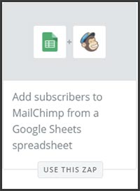 This is a screenshot of Zapier's zap to add new rows in a Google Sheet to a MailChimp list