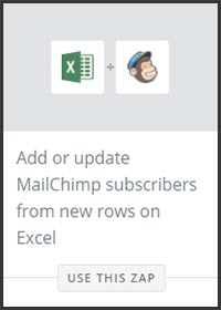 This is a screenshot of Zapier's zap to add rows in an Excel spreadsheet to a MailChimp list